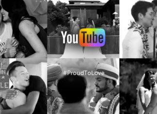 Czarno białe zdjęcia jednopłciowych par z logiem YouTube po srodku