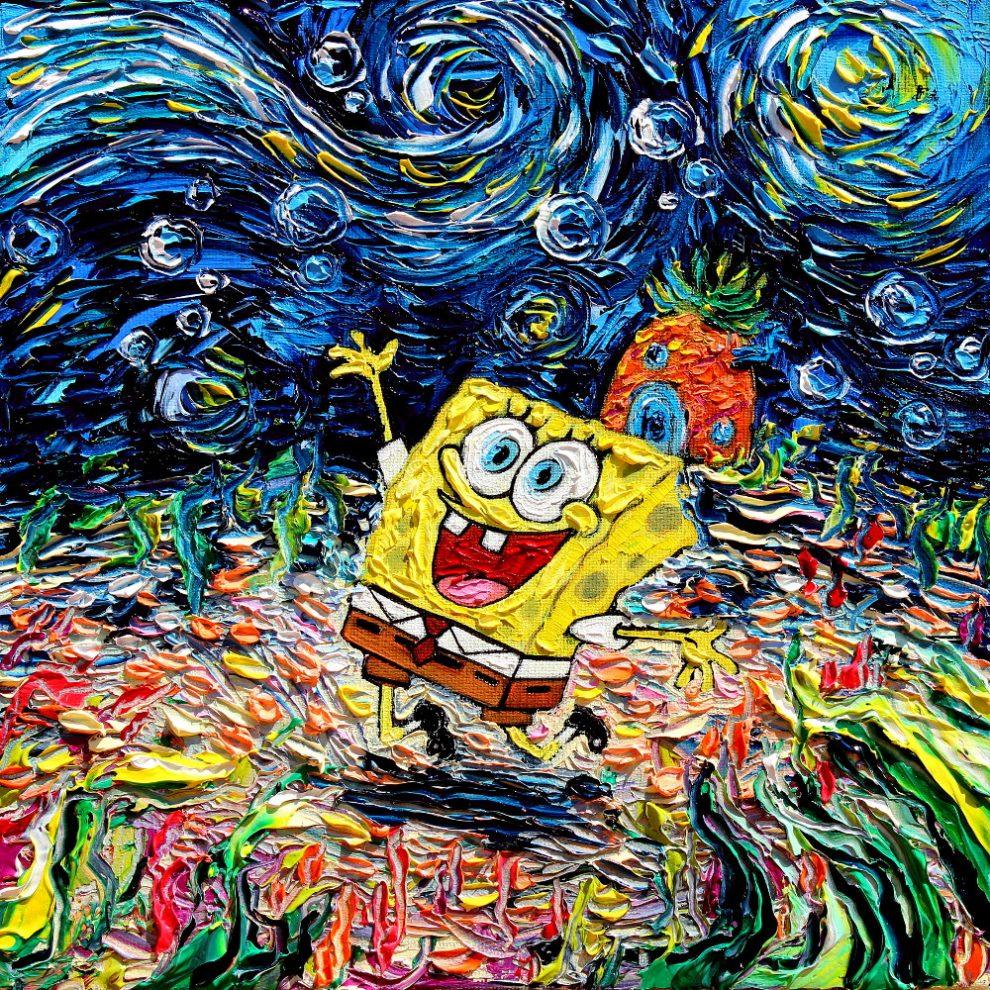 ącego i śmiejącego się Sponge Boba wykonanego tech. mala