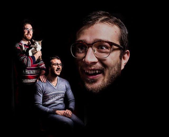 Trzy ujęcia mężczyzny, jedno zbliżenie na twarz, jedno jak siedzi, trzecie jak trzyma kota