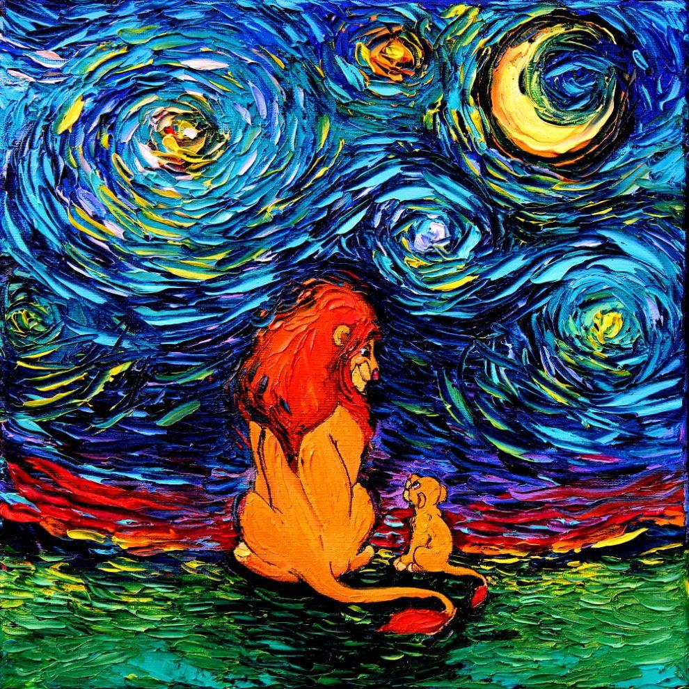 Zdjęcie przedstawia Króla Lwa i małe lwiątka, siedzących tyłem i patrzących się na siebie, wykonanych tech. malarską Van Gogha.