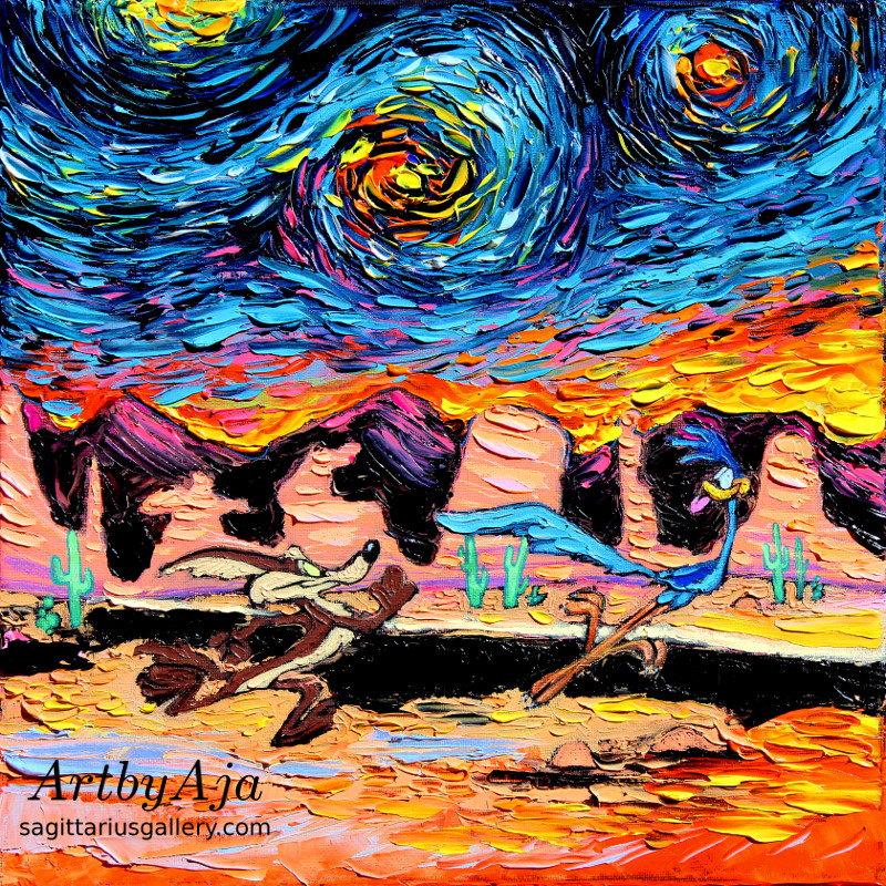 Zdjęcie przedstawia Strusia Pędziwiatra i Kojota w akcji tj. (Struś ucieka przed Kojotem), wykonanych tech. malarską Van Gogha.