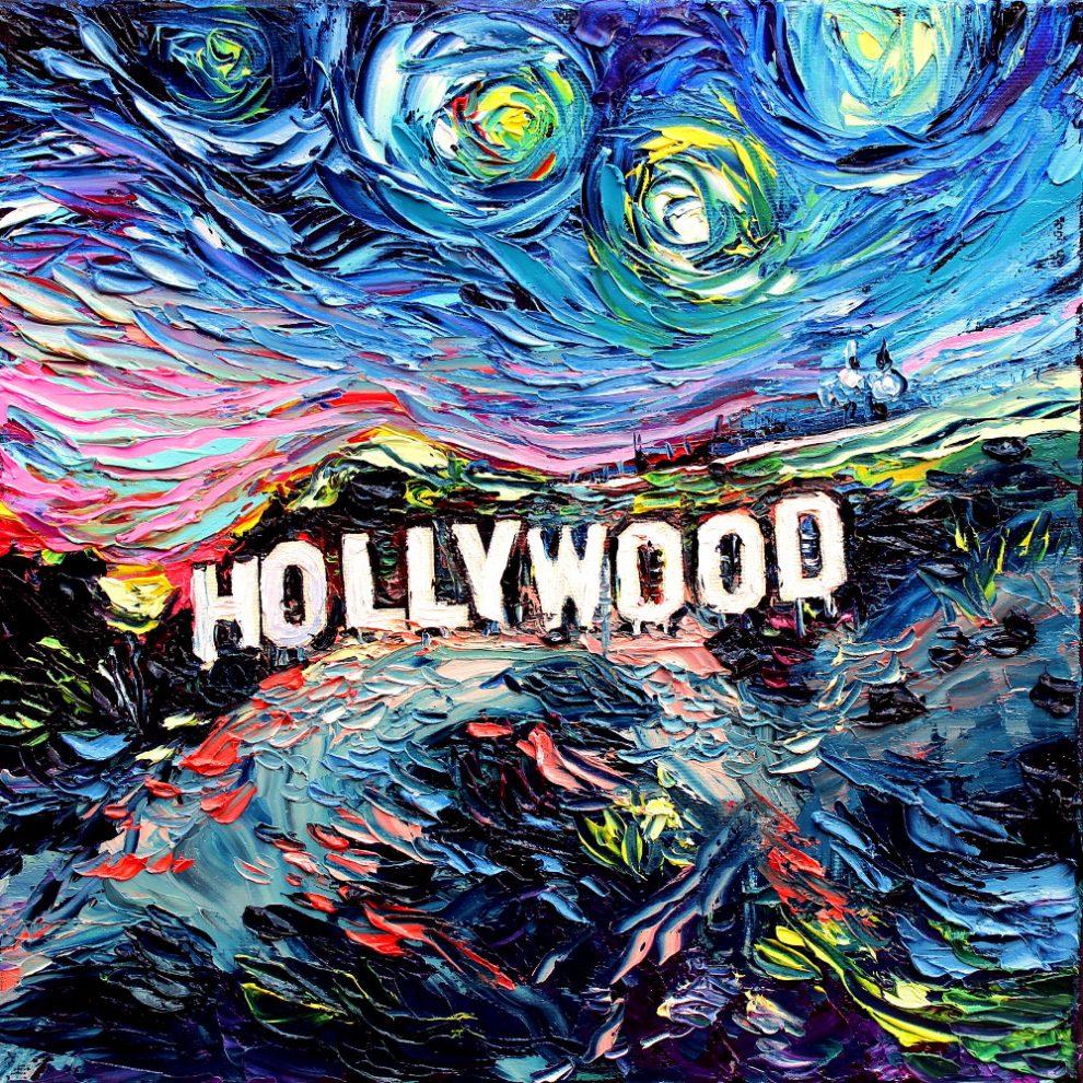 Zdjęcie przedstawia słynny napis Hollywood wykonany techniką malarską Van Gogha.