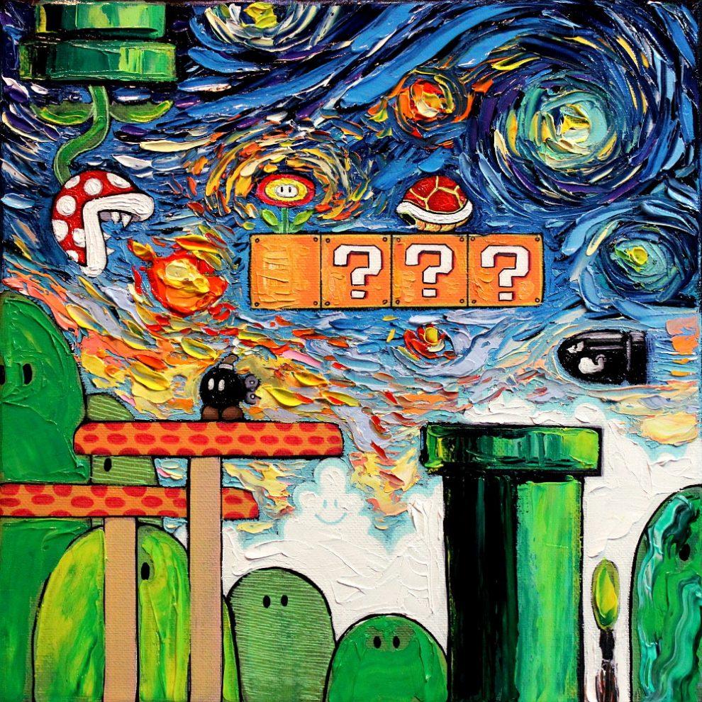 Zdjęcie przedstawia grę Mario wykonaną techniką malarską Van Gogha.