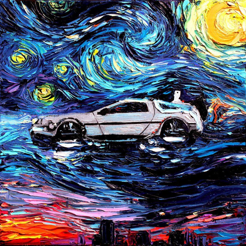 Zdjęcie przedstawia samochód wykonany tech. malarską Van Gogha.