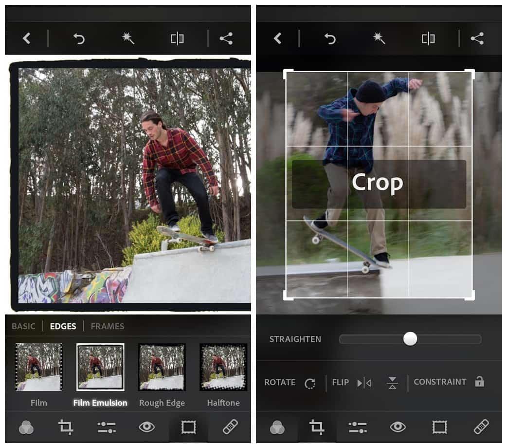 zrzut ekranu aplikacji mobilnej adobe photoshop