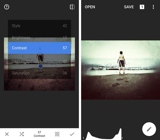 zrzut ekranu aplikacja snapseed