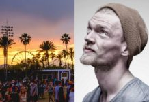 Dwa ujęcia: widok festiwalu Coachella z zachodem słońca i plamami i chłopak w czapce i zaroście