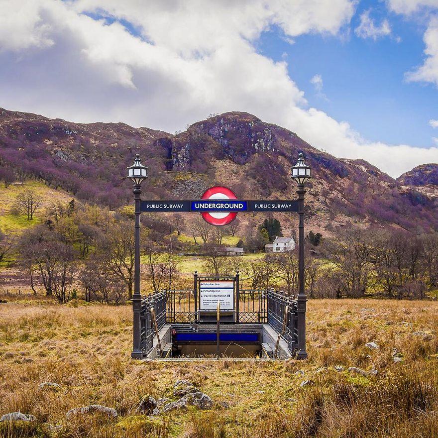 obrazek przedstawia stację metra usytuowaną na górskiej polanie