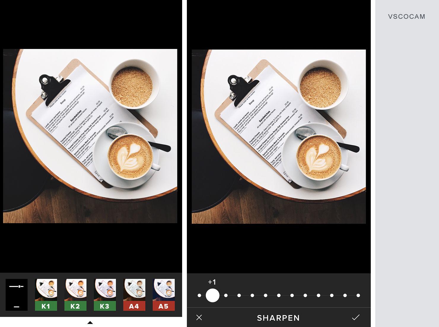Zrzut ekranu z aplikacji VSCO cam