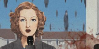 Animacja z kobietą trzymającą mikrofon