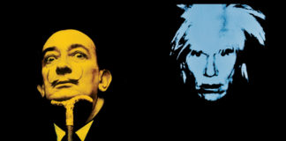 Czarne tło z dwiema głowami: jedna przedstawiająca Salvadora Dali, druga Andy'ego Warhola