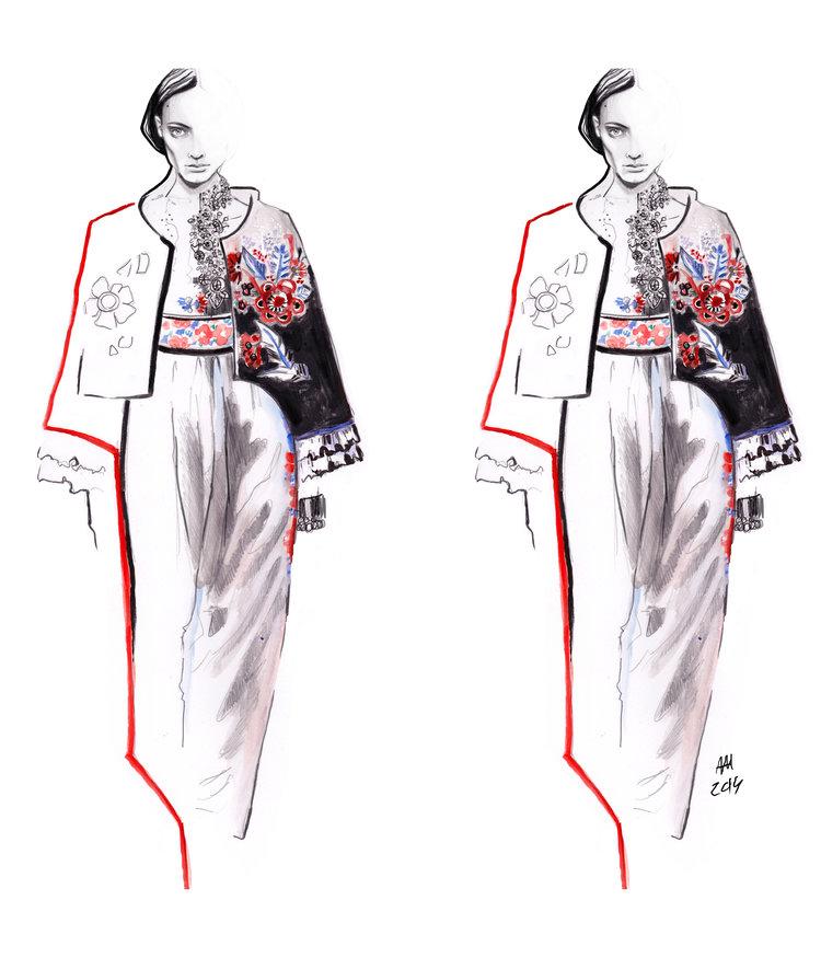Ilustracja dwoch sylwetek modoych odbcie lustrzane opiera sie na czarnym siwym i czerwonym kolorze modelka ma na sobie zakiet i spodnice
