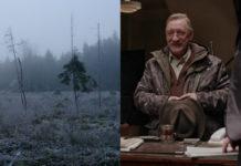 Dwa zdjęcia: wyciętego lasu oraz siwego mężczyzny ubranego w kurtkę