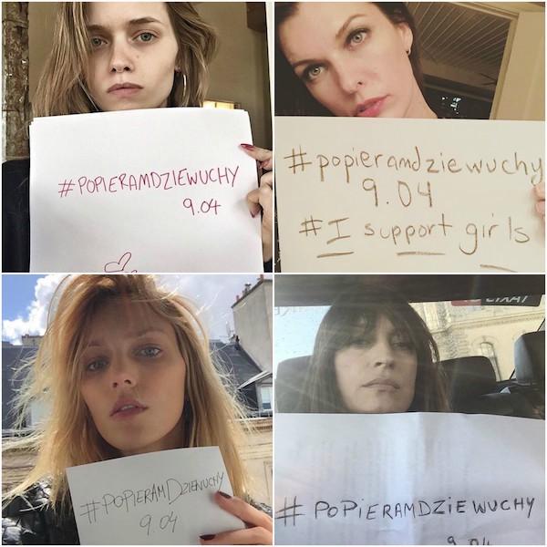 Kolaż ze zdjęć z czterema dziewczynami trzymającymi w ręku kartkę z feministycznymi hasłami