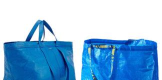 sklejka zdjec dwoch ogromnych niebieskich shopperow niemalze identycznych jedna bardzo sztuczna druga skorzana