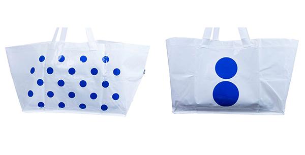 biale torby w niebieskie kropki