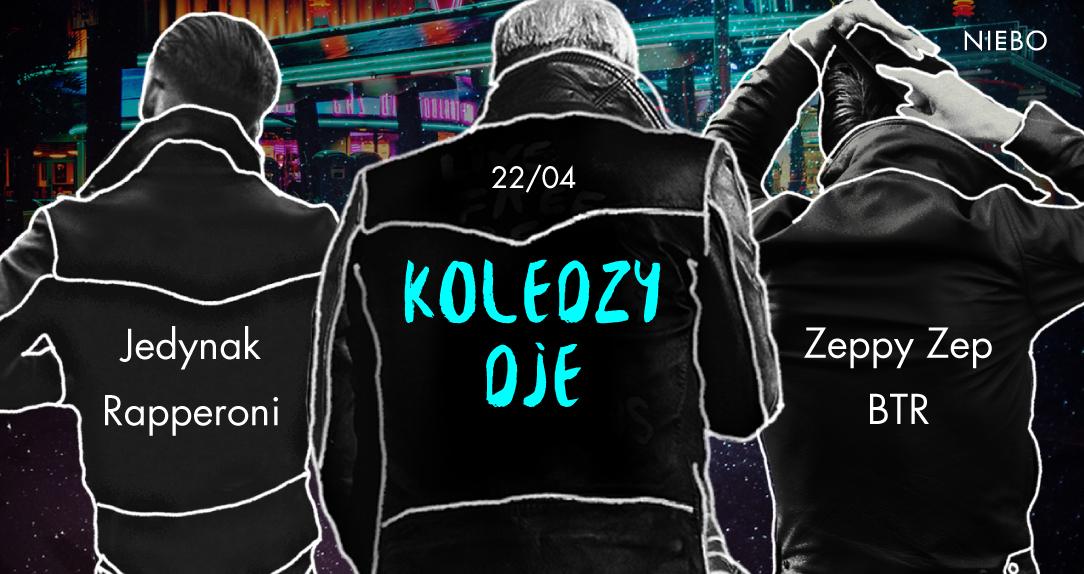 Grafika przedstawiająca trzech mężczyzn odwroconych tyłem, w kurtkach