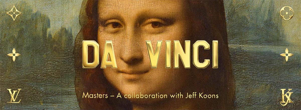 Na zdjeciu widzimy czesc obrazu Mona Lisa Leonarda Da Vinci a na nim napisy