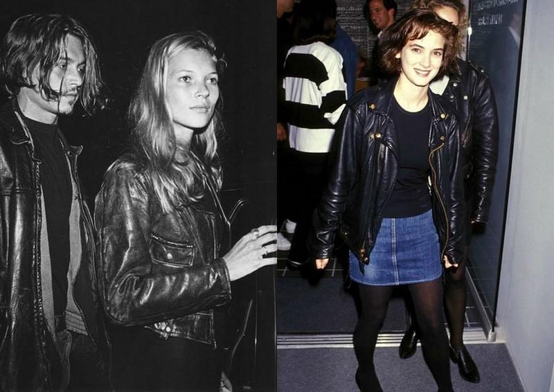 kobieta i mezczyzna w skorzanych kurtkach, a obok dziewczyna w jeansowej spódniczce i skórzanej kurtce