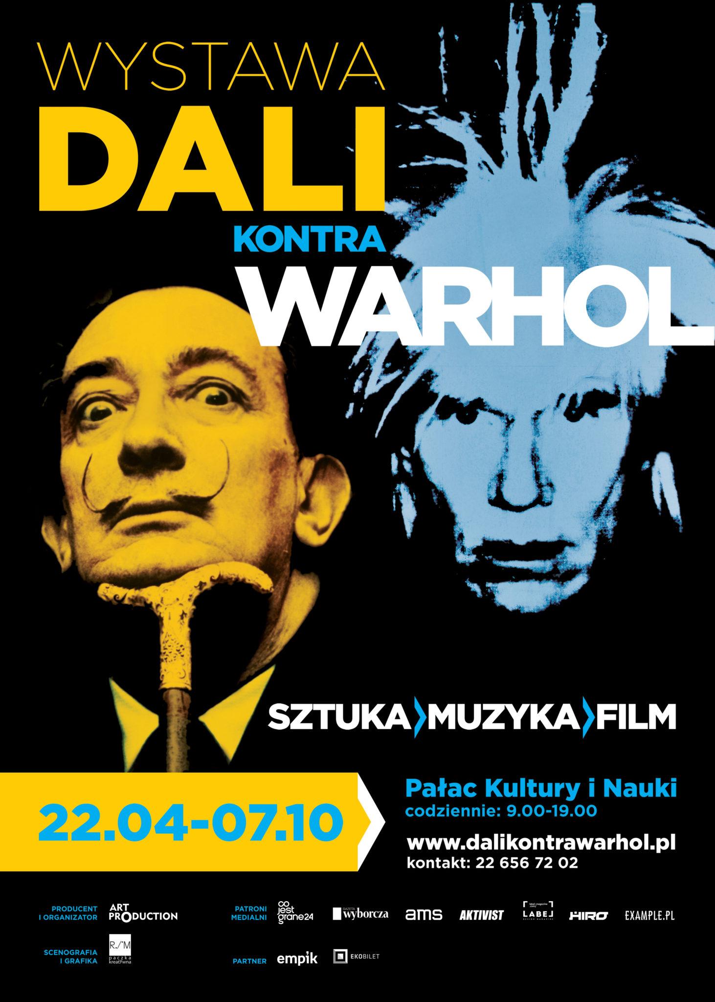 Plakat promujący wystawę Dali Kontra Warhol