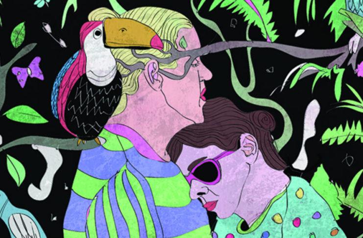 Grafika przedstawiająca kobietę opierającą się na piersi mężczyzny, obok mężczyzny siedzi pelikan