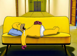 obrazek przedstawia scenę z kreskówki The Simpsons