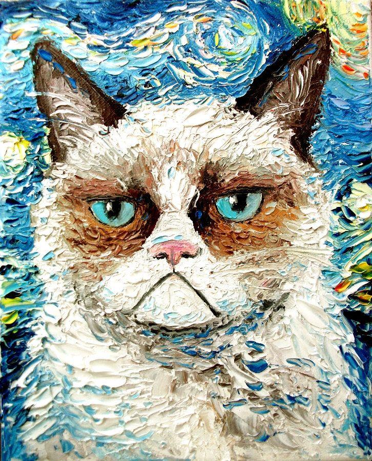 Zdjęcie przedstawia Grumpy Cat'a wykonanego tech. malarską Van Gogha.