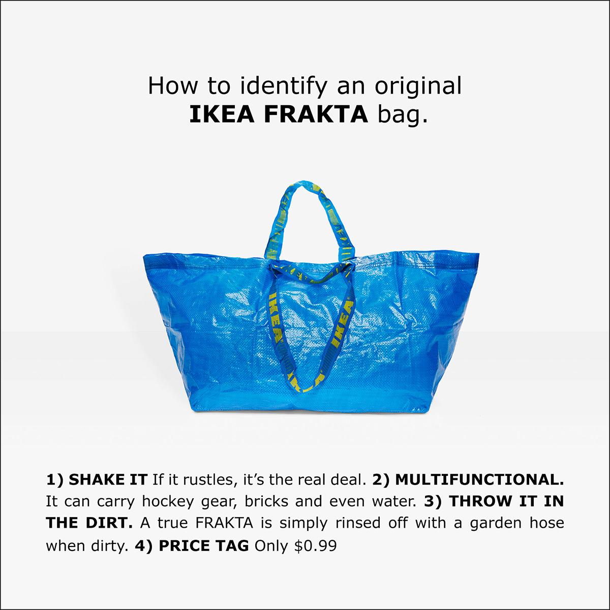 """Fotografia reklamowa ukazująca dużą niebieską torbę. Na uchwytach widać żłóte napisy IKEA. Nad torbą znajduje się czarny napis """"How to identify an original IKEA FRAKTA bag"""". Pod spodem czarne napisy """""""