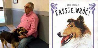 Zdjęcie psa ze swoim właścicielem, a obok okładka książki Lassie Wróć