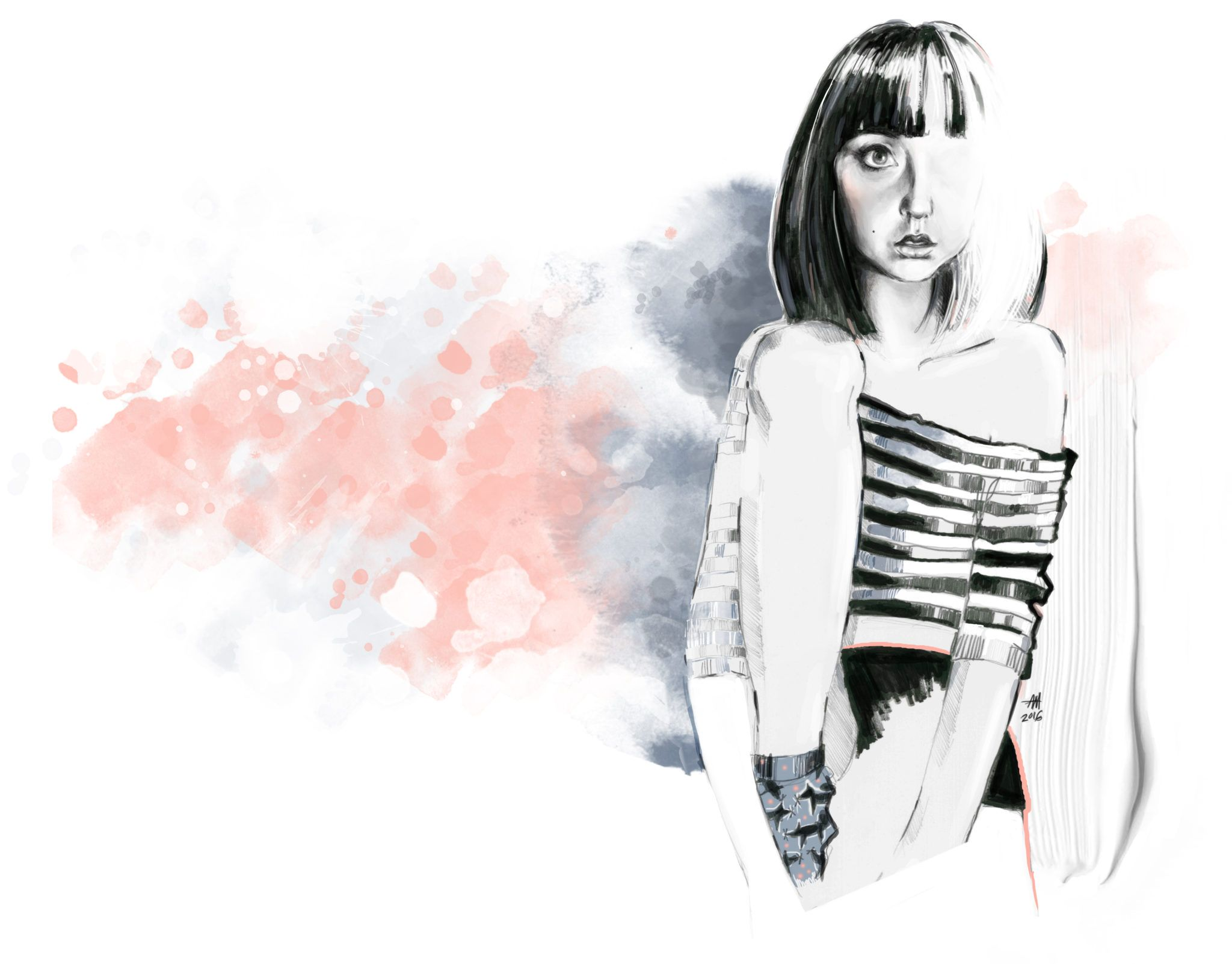 Ilustracja dziewczyny w ciemnych wlosach do ramion lewe kolano ma zgiete ma gole nogi ubrana w czarne szorty i oversizeowa bluzke w czarno biale paski opadajaca z prawego ramienia na tle sa brzoskwiniowe i czarne plamy