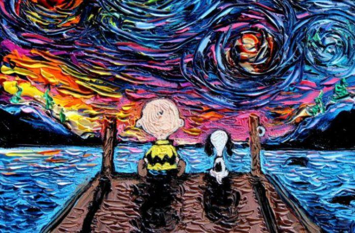 Zdjęcie przedstawia małego bohatera bajki siedzącego tyłem ze swoim psem na pomoście, patrzących w dal. Wykonani są tech. malarską Van Gogha.
