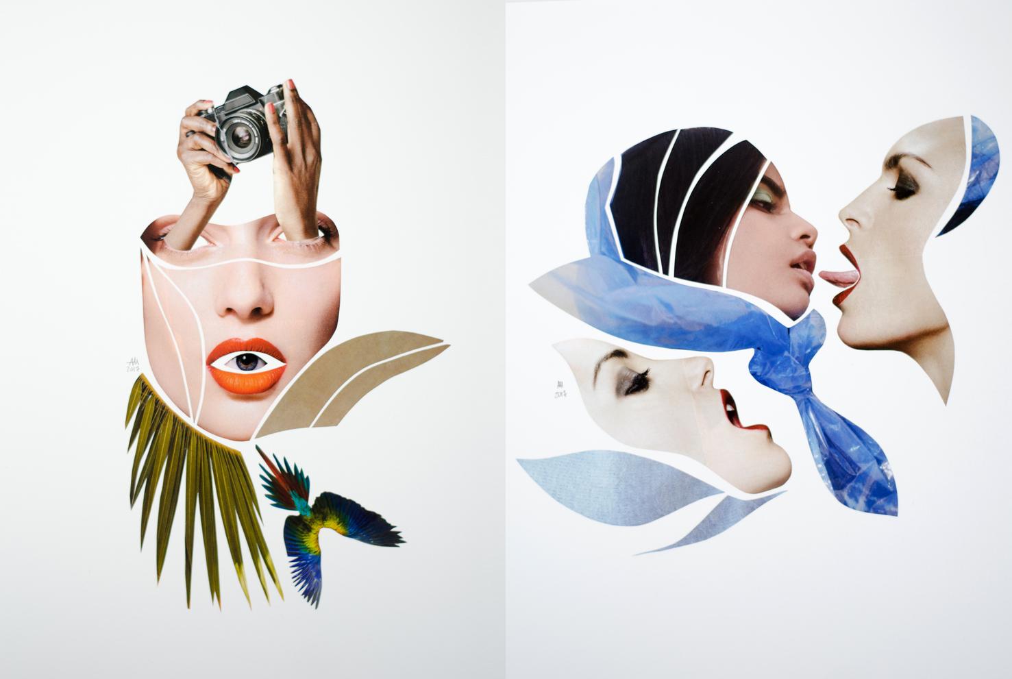 Sklejka z dwoch kolazy na pierwszym widzimy twarz z oczu wychodza rece trzymajace aparat fotograficzne natomiast w otwartych ustach jest oko pod twarza widzimy zielone liscie i ptaka drugi kolaz przedstawia trzy twarze kobiet wyrazajace rozne emocje miedzy nimi fragmenty oceanu