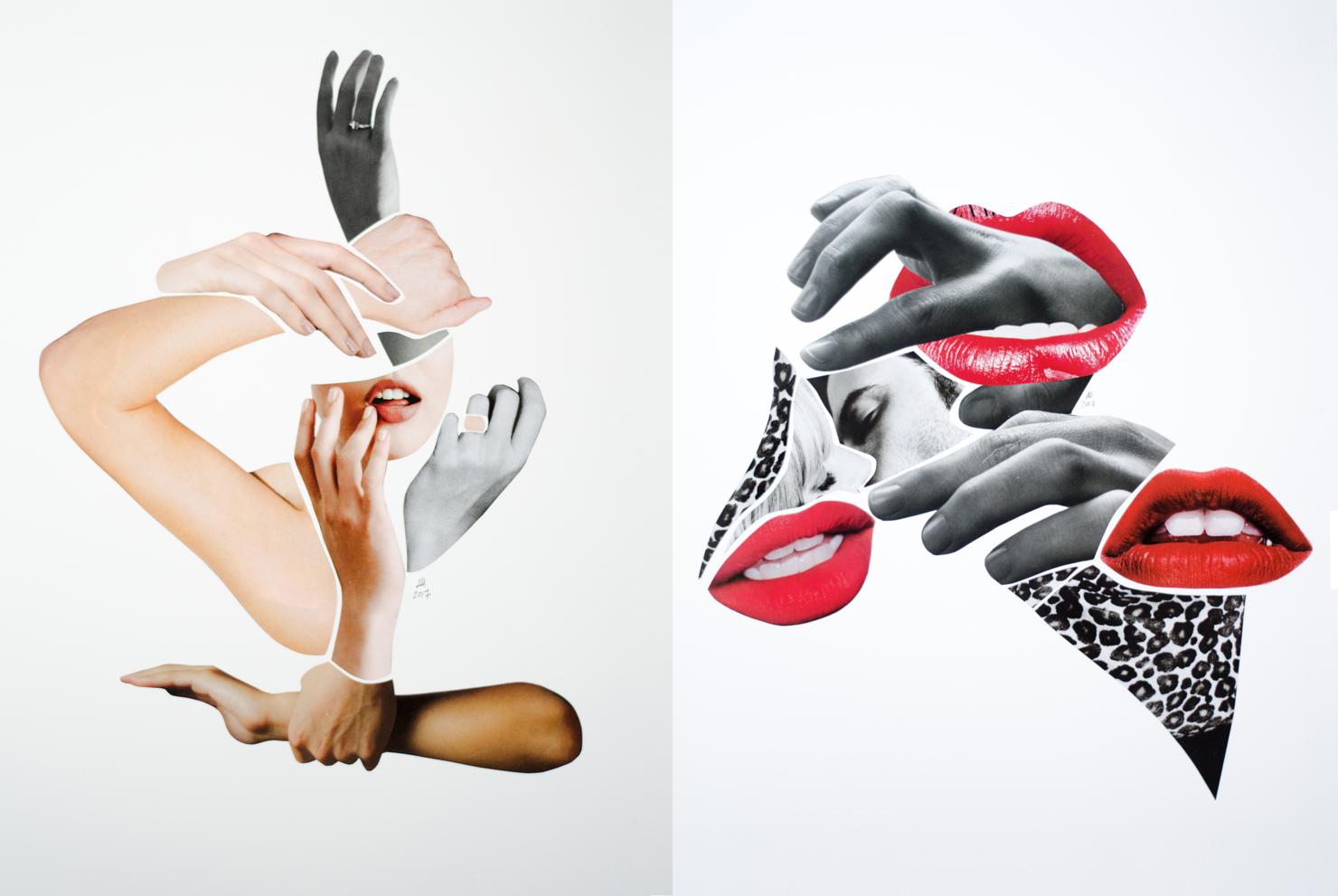 Sklejka z dwoch kolazy na jednym widzimy usta kobiety otoczone kilkoma parami rak na drugim widzimy usta w tle calujaca sie pare a to wszystko otoczone rekoma