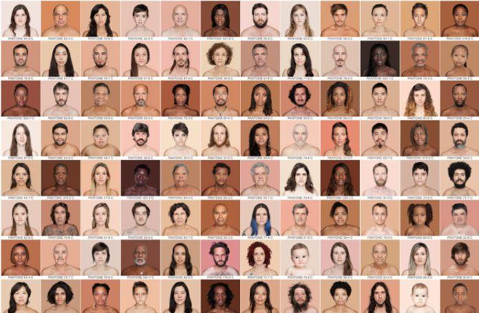 Mozaika ze zdjęć kolorowych, na których widać ludzi o różnym kolorze skóry