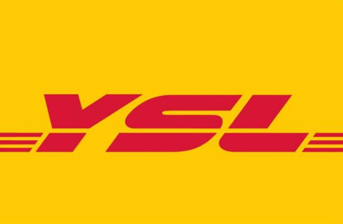 Logo YSL wklejone w logo firmy kurierskiej DHL