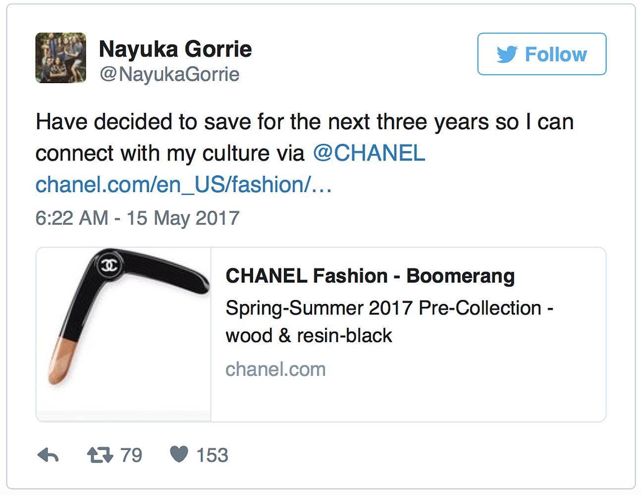 Tweet na temat bumerangu Chanel