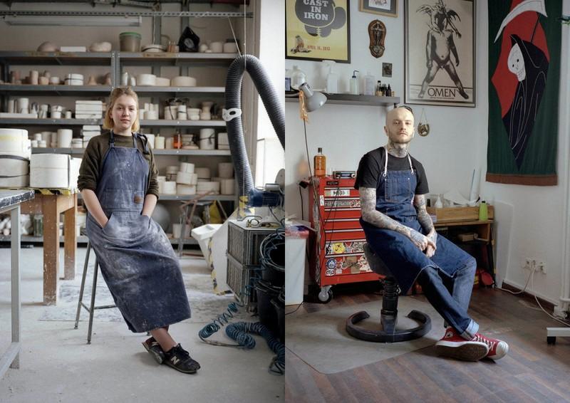 Dwa zdjęcia przedstawiające kobietę w roboczym fartuchu oraz mężczyzne z tatażami w czarnej koszulce i granatowym fartuchu