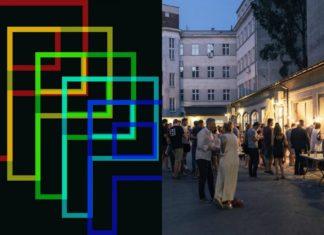 Sklejka z logo Festiwalu Przenikania i widoku na budynek i ludzi stojących przy oświetlonych straganach