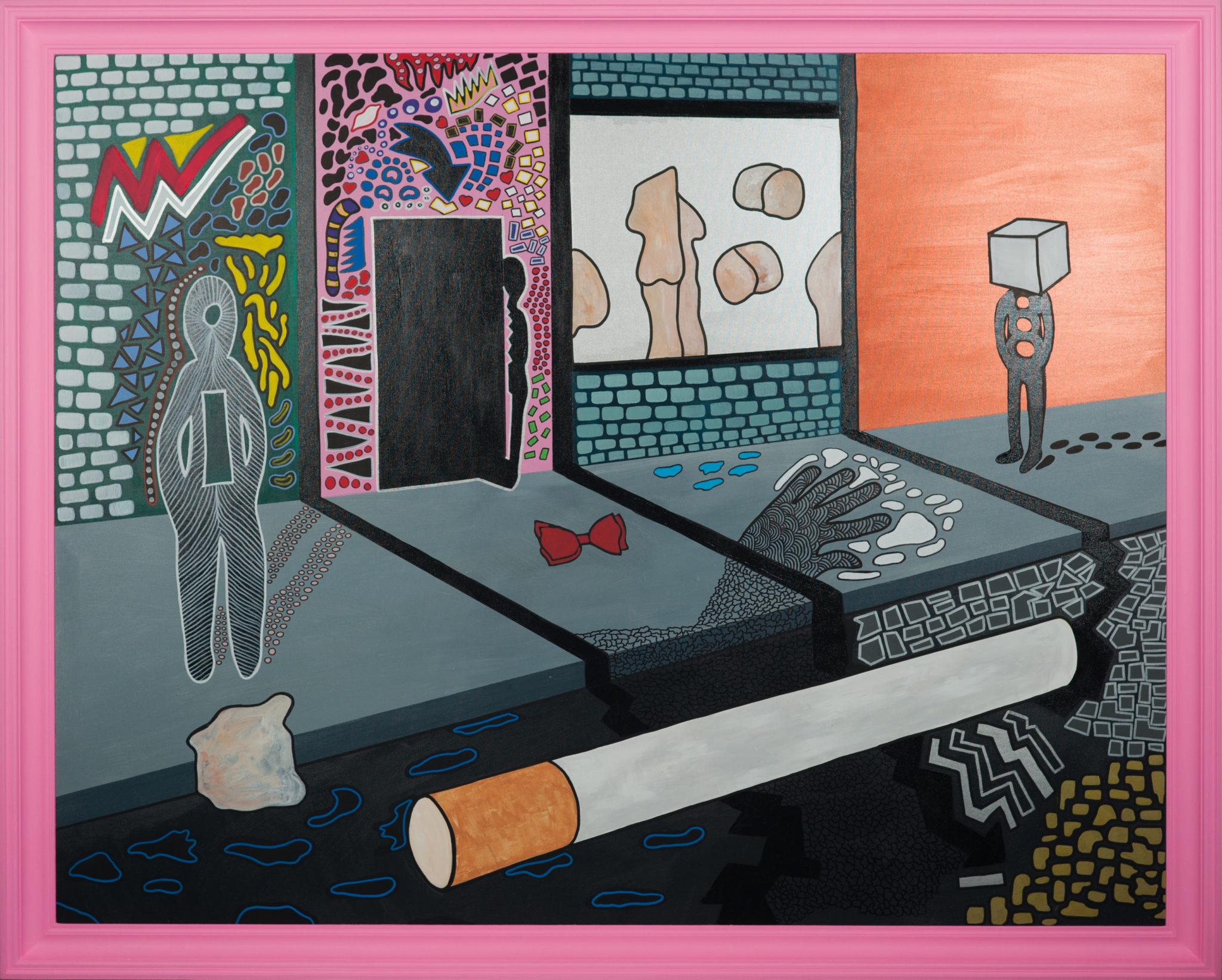 Surrealistyczny obraz z dużym papierosem leżącym przy krawężniku