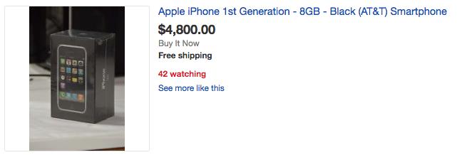 Zrzut ekranu z aukcji z telefonem iPhone 2G