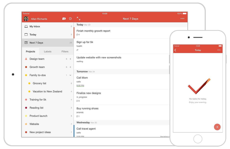 zrzuty ekranu aplikacja Todoist