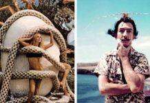 """Na zdjęciu są zestawione dwa zdjęcia, jedno przedstawia modelkę na tle dużego jaja kurzego, owitą w węże. Z jaja """"wychodzą"""" ręcę oraz nogi ludzkie. Drugie zdjęcie przedstawia stojącego Dalego na tle hiszpańskiego krajobrazu, artysta trzyma się jedną ręką za podbródek."""
