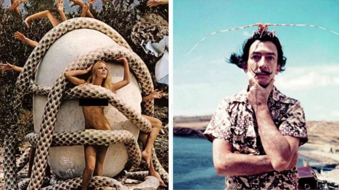 Na zdjęciu są zestawione dwa zdjęcia, jedno przedstawia modelkę na tle dużego jaja kurzego, owitą w węże. Z jaja