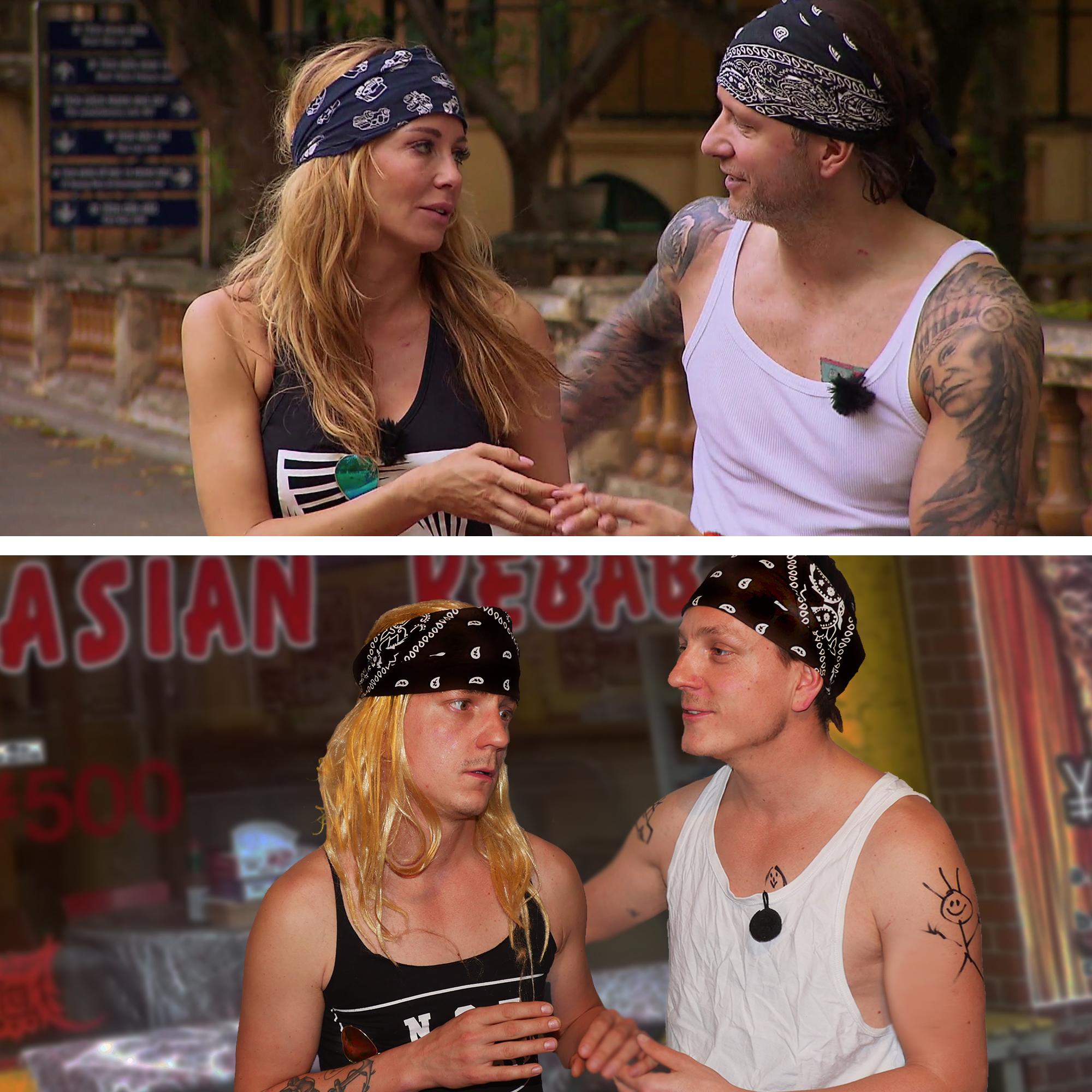 Dwa zdjęcia, na jednym para ubrana w bandany na głowie i koszulki bez rękawów, na drugim parodia tego zdjęcia