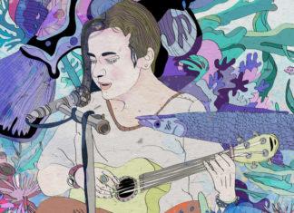 Kolorowa grafika przedstawiająca kobietę grającą na gitarze