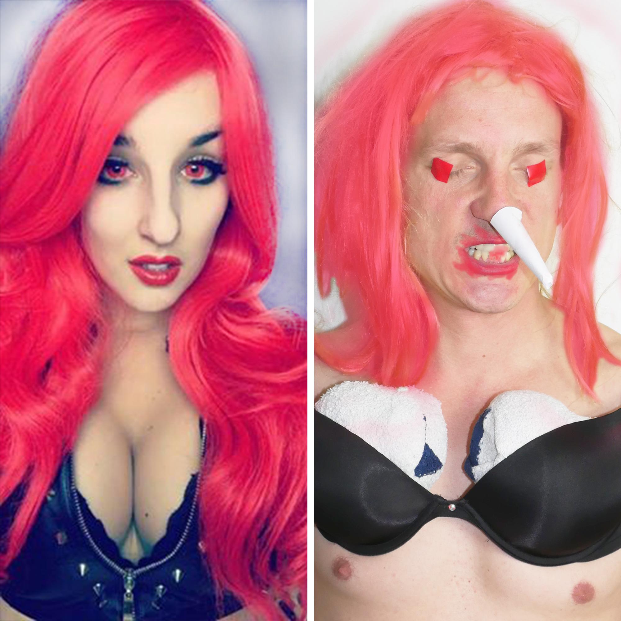 Po lewej stronie zdjęcie czerwonowłosej dziewczyny z dużymi piersiami, po prawej chłopak parodiujący ją