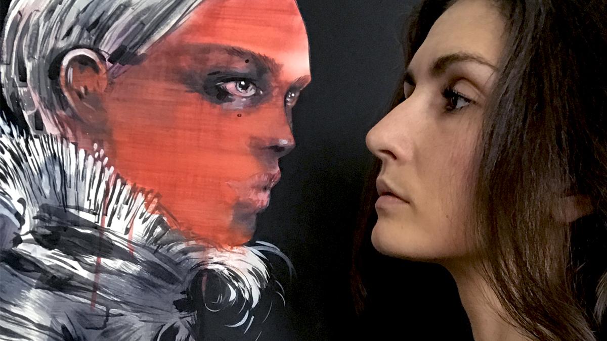 Twarz pieknej kobiety profilem brunetki na tle obrazu przedstawiajacego czerwona twarz skierowana w strone kobiety obie patrza na siebie pieknymi oczyma oczy namalowanej postaci sa szkliste cala postac namalowana jest na czarnym tle