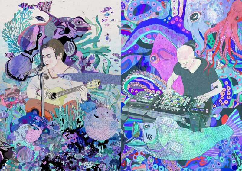 Dwie grafiki kolorwe: po lewej stronie kobieta grająca na gitarze, po prawe mężczyzna przy konsolecie