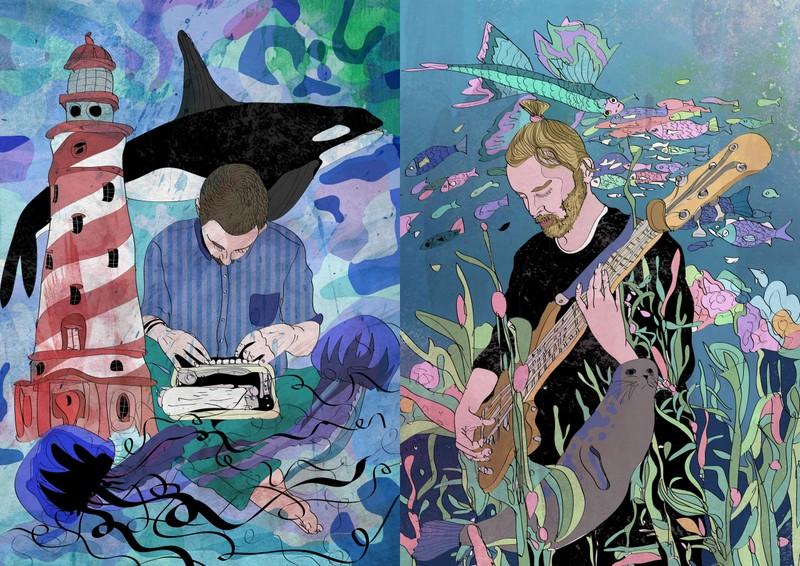 Dwie grafiki kolorowe, po lewej mezczyzna z latarnią, orką w tle, przy konsolecie, po prawej mezczyzna grajacy na gitarze