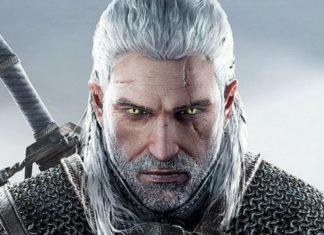 Grafika przedstawia białowłosego mężczyznę z blizną bięgnąc w poprzek jego oka. Zza jego pleców wystają rękojeści dwóch mieczów.